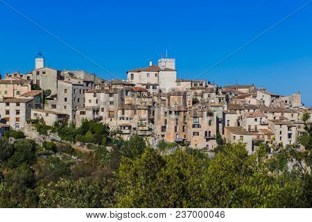 Town Tourrettes-sur-Loup in Provence France - travel and architecture background