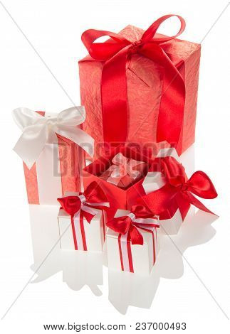 Bright Gift Boxes For Holiday With Ribbons And Bows Isolated On White Background