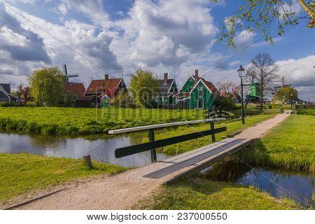 Village Zaanse Schans in Netherlands - architecture background