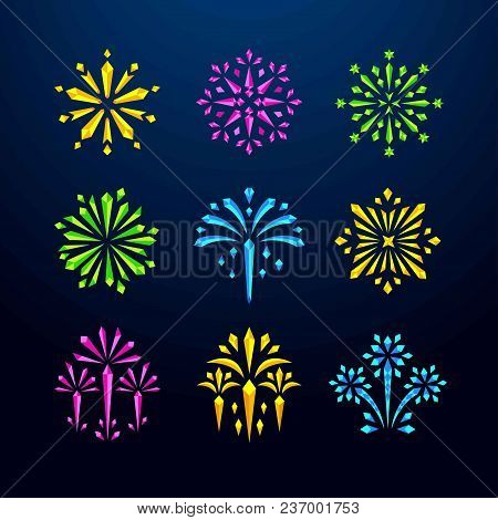 Neon Firework Crystal Design Collection Set Vector And Illustration