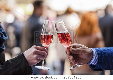 Two Hands And Two Glasses With Prosecco
