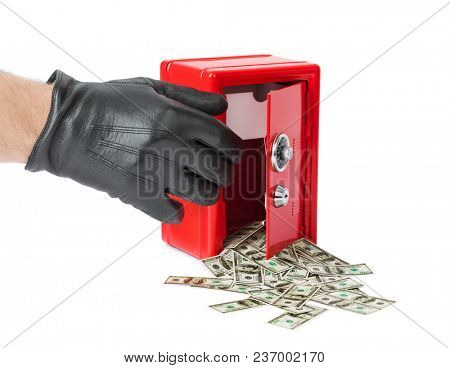 Safe with money isolated on white background