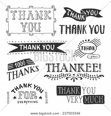 Thank You Lettering Set With Ribbons And Thank You Very Much Thank You For Everything Descriptions V