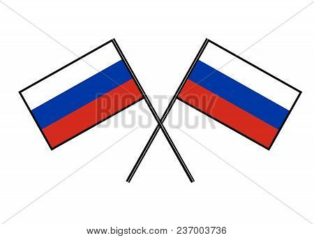 Flag Of Russia. Stylization Of National Banner. Simple Vector Illustration With Two Flags
