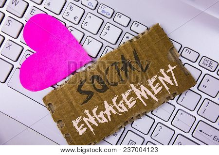 Word Writing Text Social Engagement. Business Concept For Post Gets High Reach Likes Ads Seo Adverti