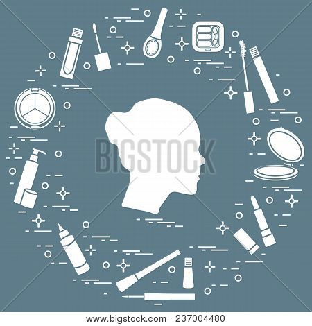 Silhouette Of Female Head And Various Accessories For The Application Of Decorative Cosmetics. Glamo