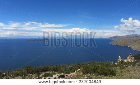 Isla Del Sol. Landscape Of Lake Titicaca. Bolivia