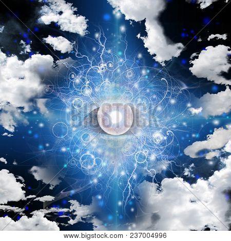 God's eye in cloudy sky. 3D rendering