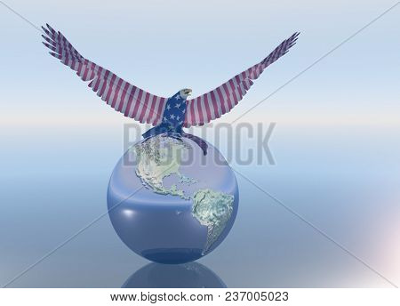 Eagle on the globe. 3D rendering