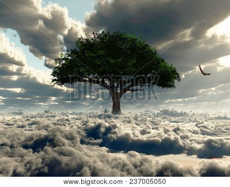 Green tree on a field of clouds. Eagle in the sky. 3D rendering