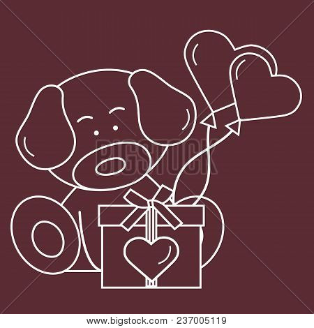 Puppy With Gift, Hearts And Balloons Valentine's