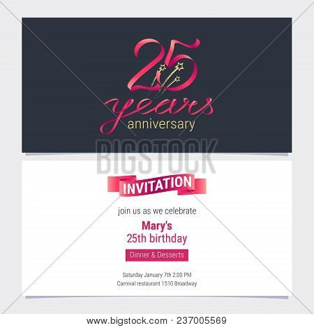 25 Years Anniversary Invite Vector Illustration. Graphic Design Element For 25th Birthday Card, Part