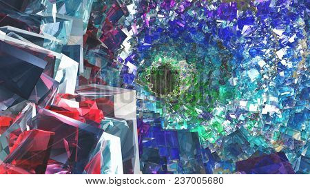 Abstract painting inspired by O'Neill cylinder. 3D rendering