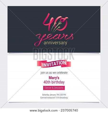 40 Years Anniversary Invite Vector Illustration. Graphic Design Element For 40th Birthday Card, Part