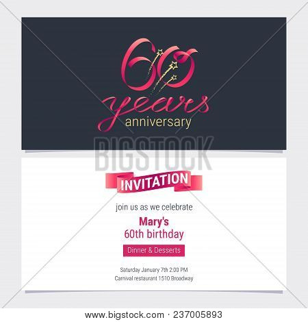 60 Years Anniversary Invite Vector Illustration Graphic Design Element For 60th Birthday Card Part