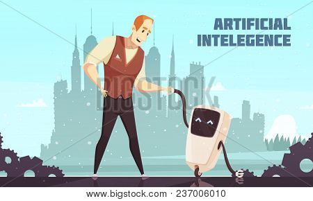 Artificial Intelligence Interacting Socially With Human In Everyday Life Cartoon Poster With Man And