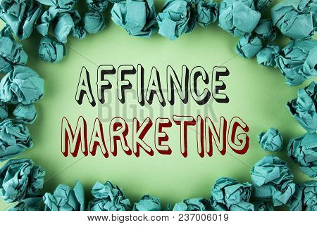 Word Writing Text Affiance Marketing. Business Concept For Joining Two Or More Companies In Same Fie