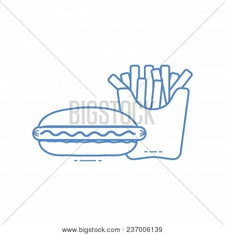 French Fries And Hot Dogs. Harmful Eating Habits. Design For Banner And Print.