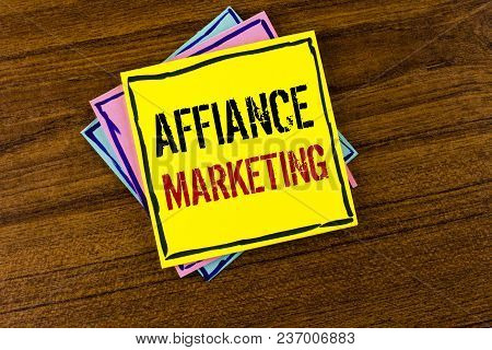 Writing Note Showing  Affiance Marketing. Business Photo Showcasing Joining Two Or More Companies In