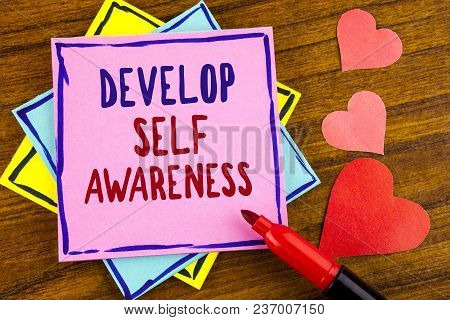 Conceptual Hand Writing Showing Develop Self Awareness. Business Photo Text Improve Your Information