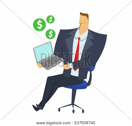 Businessman In Office Suit Holding Notebook With Dollar Signs Flying Around. Presentation. Business