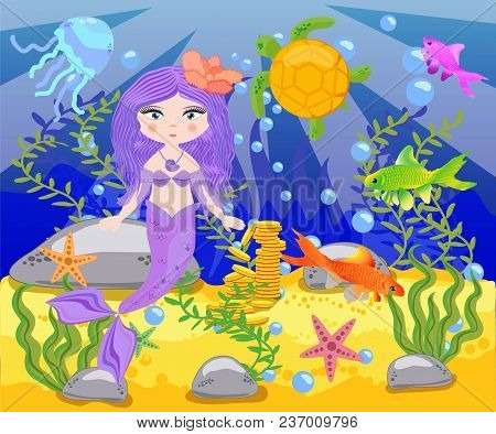 Vector Background With An Underwater World In A Children's Style. A Mermaid Is Sitting On A Rock. Wo