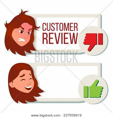Customer Review Vector. Happy And Unhappy Woman. Review Rating. Testimonials Messages. Store Quality