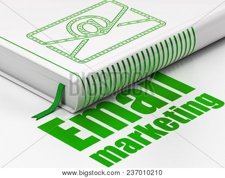 Business Concept: Closed Book With Green Email Icon And Text Email Marketing On Floor, White Backgro