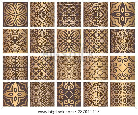 Vector Tiles Patterns. Seamless Flourish Backgrounds With Golden Flourish Elements. Arabic Decorativ