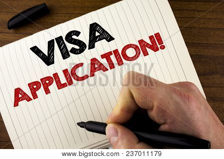 Conceptual Hand Writing Showing Visa Application Motivational Call. Business Photo Showcasing Sheet