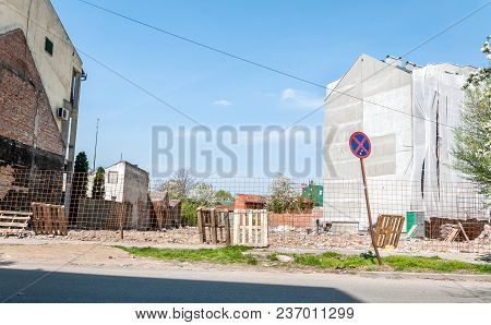 Construction Site. New Residential Building Preparation Of Construction Site Land In The City With S