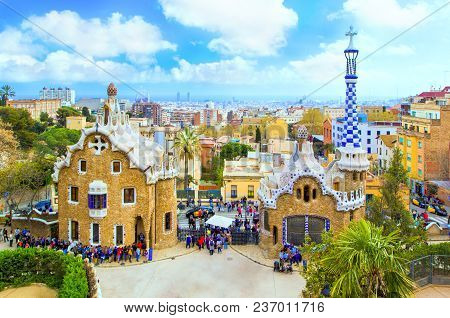 Panoramic View Of Park Güell - Gingerbread Houses With A Mosaic By Architect Antonio Gaudi And Citys