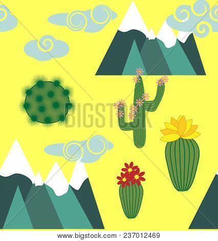 Seamless Pattern With Cute Cartoon Llama Alpaca With Cactus And Design Elements On Pink Background I