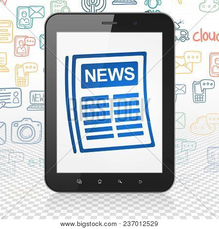 News Concept: Tablet Computer With  Blue Newspaper Icon On Display,  Hand Drawn News Icons Backgroun