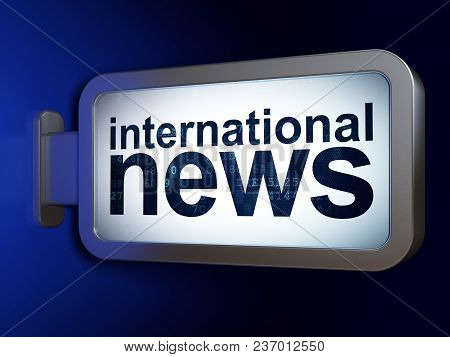 News Concept: International News On Advertising Billboard Background, 3d Rendering