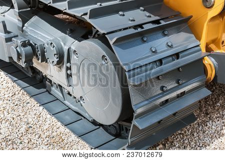 Crawler Tracks Hydraulics On A Tractor Or Excavator. Automotive And Construction Machinery Parts
