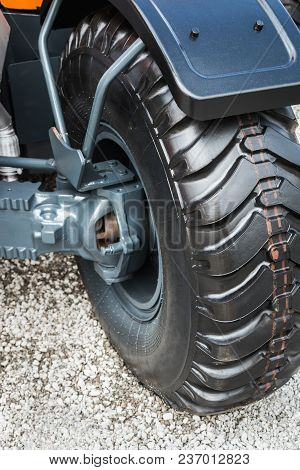 Wheel Tread Of The Tractor Or Excavator. Details And Parts Of Construction Machinery
