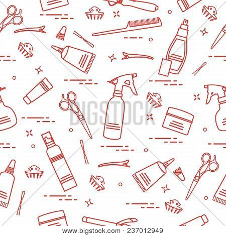 Seamless Pattern With Professional Hairdresser Tools. Fashion And Beauty Background. Design For Anno