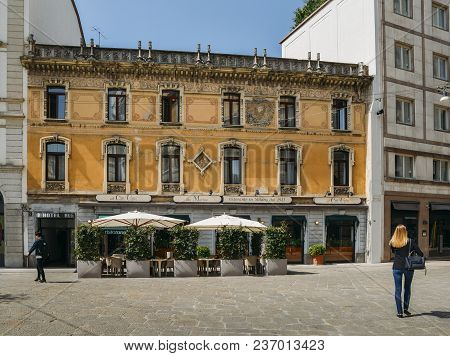 Milan, Italy - April 17, 2018: Traditional Building Facade In The Historic Centre Of Milan