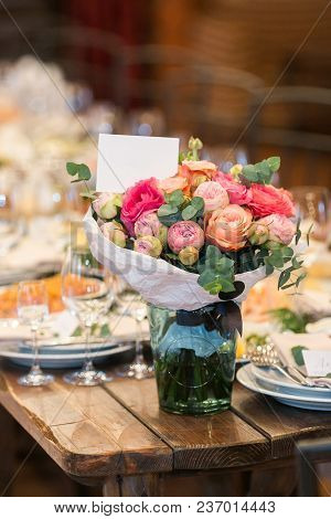 Arrangement, Interior Decor, Party Concept. On The Coner Of Old Wooden Table Served For Reception Th