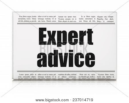 Law Concept: Newspaper Headline Expert Advice On White Background, 3d Rendering