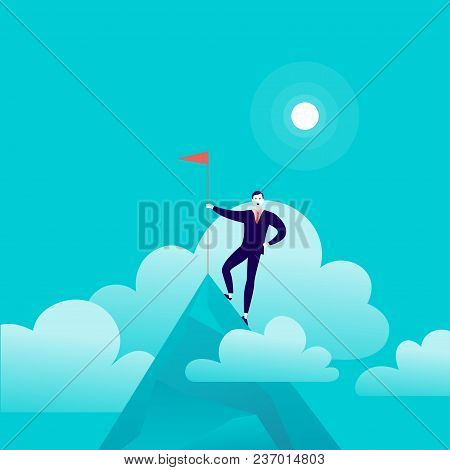 Vector Flat Illustration With Businessman Standing On Top Of Mountain Peak Holding Flag On Blue Clou