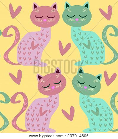 Cute Seamless Background With Funny Cats And Hearts In Cartoon Style