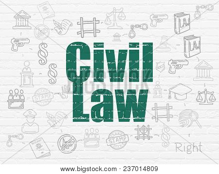 Law Concept: Painted Green Text Civil Law On White Brick Wall Background With Scheme Of Hand Drawn L