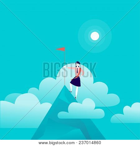 Vector Flat Illustration With Business Lady Standing On Mountain Peak Of Holding Flag On Blue Cloude