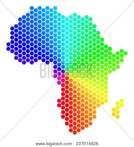 Spectrum Hexagon Africa Map. Vector Geographic Map In Bright Colors On A White Background. Spectrum