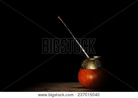 Yerba Mate. South American Ethnic Drink. On A Black Background.