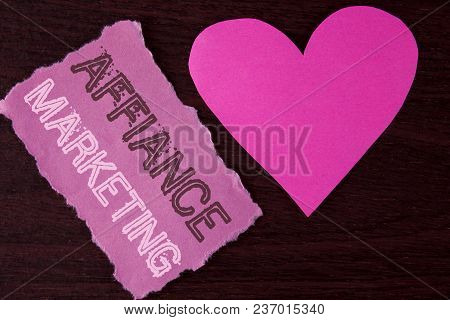 Handwriting Text Writing Affiance Marketing. Concept Meaning Joining Two Or More Companies In Same F