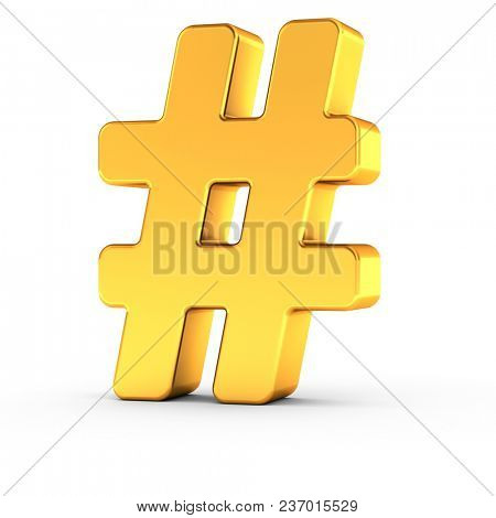3D illustration of the Number symbol as a polished golden object over white background with clipping path for quick and accurate isolation.
