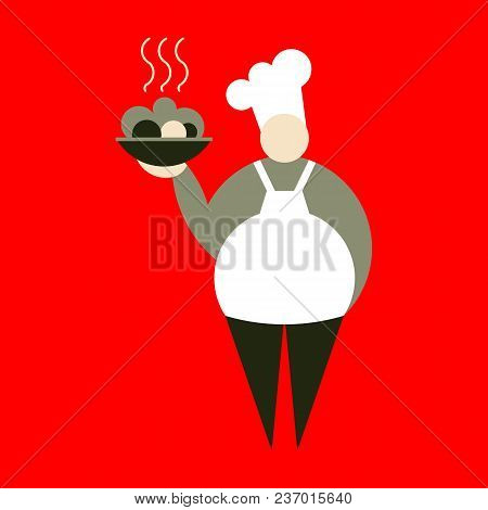 Vector Flat Illustration Of The Chef Woman In Uniform On A Red Background. Chef Cook Woman Holds Dis